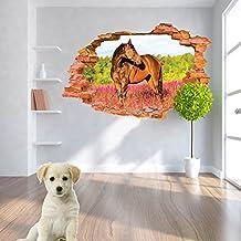 Lchen® 3D Window Grasslands Prairie View Red-Horse Wall Stickers for Children's Kids Room