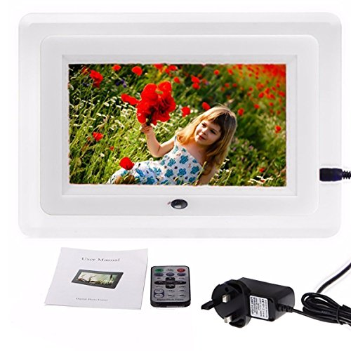 INSMA 7 ''LCD Fernbedienung Digitaler Bilderrahmen HD Bilderrahmen geeignet fürJPEG, AVI, MPEG-4, MP3, MPG Mit Handbuch Vatertags Geschenk Weiss