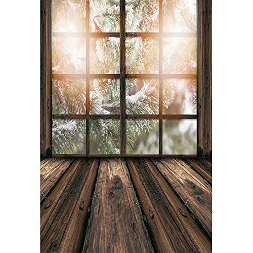 (Laeacco French Wooden Lattice Window Grunge Wooden Floor Outdoor Snowy Pine Trees Backdrop Vinyl 6.5x8ft Christmas Theme Background Child Kids Adult Portrait Shoot Xmas Party Banner Studio Props)