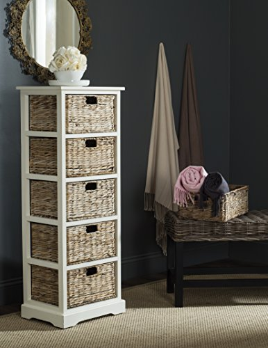 Safavieh American Homes Collection Vedette Distressed White 5 Wicker Basket Storage Tower (Drawers Of Chest Lingerie)
