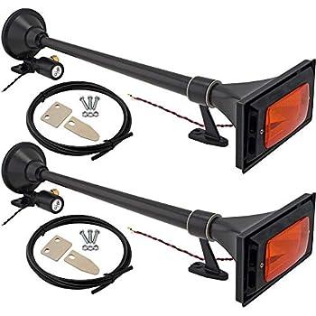 Fits 12v Vehicles Like Semi//Pickup//Jeep//SUV VXH1164YX2 Super Loud dB Vixen Horns Train Horn for Boat//Truck//Car Air Horn Waterproof Chrome Plated Dual Trumpet Light /& Cover Marine Grade Finish
