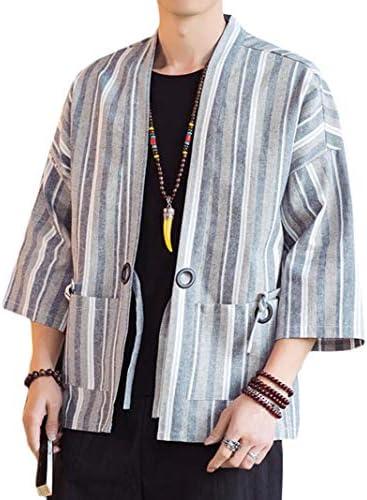 [YYQ-SHOP]メンズ カーディガン 七分袖 和式パーカー ストライプ柄 開襟シャツ ゆったり 綿 麻 サマーカーディガン カジュアル アウター 夏 大きいサイズ