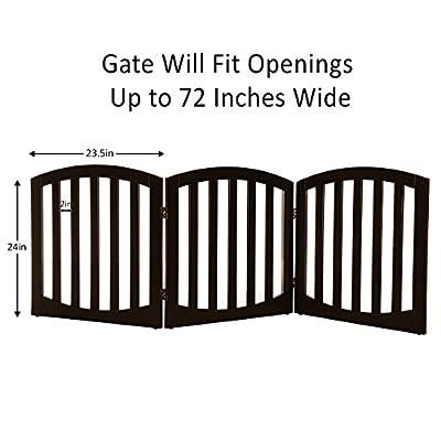 Arf pets Free standing Wood Dog Gate, Step Over Pet Fence, Foldable, Adjustable