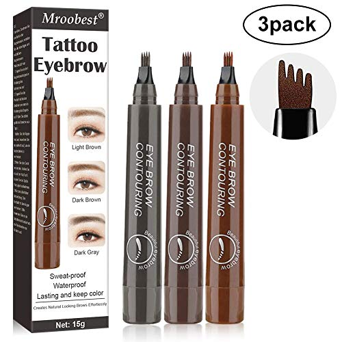 Eyebrow Pencil, Microblading Eyebrow Pen, Tattoo Eyebrow With Precision Applicator Long Lasting, Waterproof, Smudge Proof For Fuller Natural Looking Brows - 3 Pcs