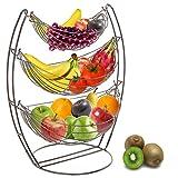 3 Tier Gunmetal Gray Triple Hammock Fruit/Vegetable / Produce Metal Basket Rack Display Stand - MyGift