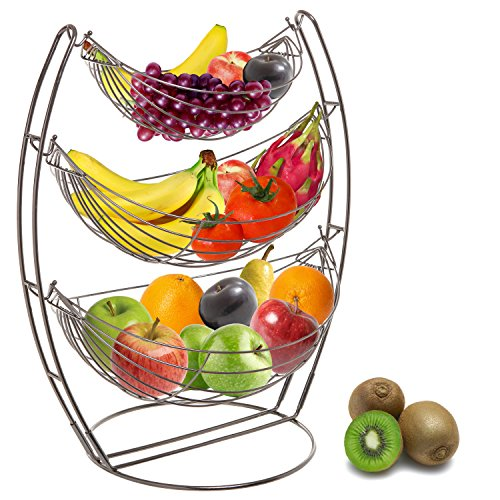 (3 Tier Gunmetal Gray Triple Hammock Fruit/Vegetable/Produce Metal Basket Rack Display Stand - MyGift)