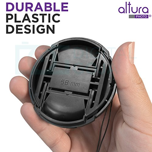 (10 Pcs Bundle) 5 Center Pinch Lens Cap (58mm) and 5 Cap Keeper Leash for Canon, Nikon, Sony and any Other DSLR Camera