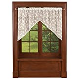 Collections Etc Butterfly Lace Window Swag Set for Kitchen, Bath, Natural