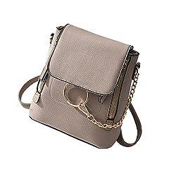 Hengsheng Fashion Women Crossbody Backpack Purse Small Pu Leather Shoulder Bags Ladies Cute Chain Satchel Bag Khaki