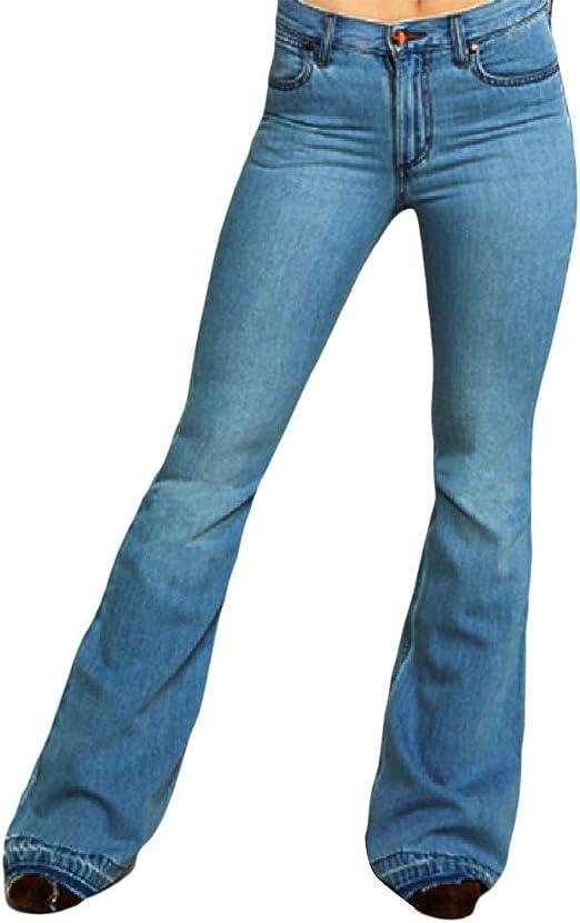 Nicellyer Women High Waisted Bell Bottom Pants Retro Casual Denim Jeans