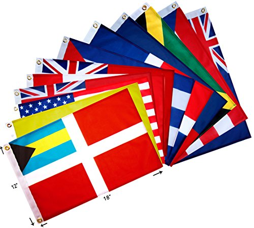 Blue Marble Marine Set of 12 Courtesy and Quarantine Flags for US, Canada, Bermuda, Bahamas and Greater Antilles. 12 X 18 inches, UV fade-resistant. by Blue Marble Marine (Image #2)