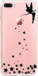 Girlscases® | iPhone 8 Plus / 7 Plus Hülle | Im Fee Motiv Muster | in schwarz | Fashion Case Transparente Schutzhülle aus Silikon
