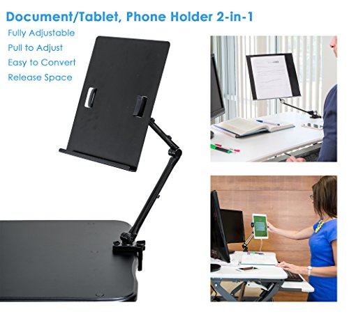TrenDesks Document Copy Holder and Tablet/Cellphone Holder 2-in-1 (Black), Full Motion, Pull to Adjust Height, Angle and Direction (Adjustable Holder Document)