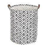 Jinsun Make You Happy Laundry Hamper Simple Style PU Leather Handle Finishing Storage Hamper (Double Arrow Cylinder)