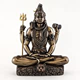 Top Collection 8.5 Inch Shiva in Padmasana Lotus Pose Hindu Statue in Cold Cast Bronze