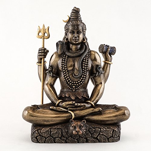 (Top Collection 8.5 Inch Shiva in Padmasana Lotus Pose Hindu Statue in Cold Cast Bronze)