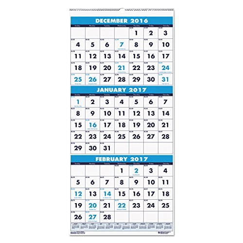 "House of Doolittle Three-Month Compact Calendar, December 2015 to January 2017, 8"" x 17"" (HOD3646-16)"