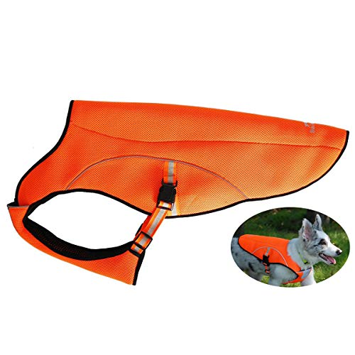 smartelf Dog Cooling Vest Swamp Cooler Coat,Evaporative Jacket Safety Reflective Vest for Large Dogs Walking Outdoor Hunting Training Camping Orange-L