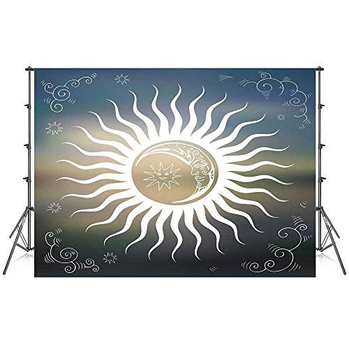 Sun Stylish Backdrop,Celestial Bodies Silhouette Geometric Elements Swirled Lines with Curves Ornamental Decorative for Photography Festival Decoration,86''W x 59''H