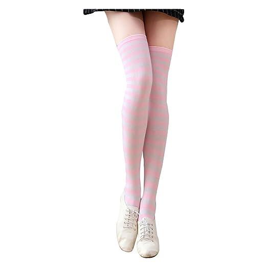 02c07b6c7 Amazon.com  Women s Cute Colorful Long Striped Socks Over Knee High ...