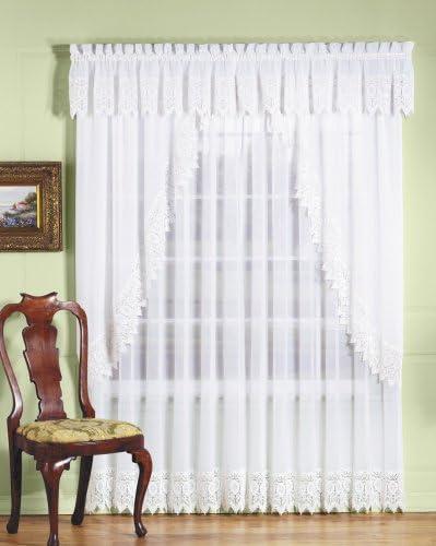 Diana Sheer Curtain with Macrame Valance 70×12, Ecru