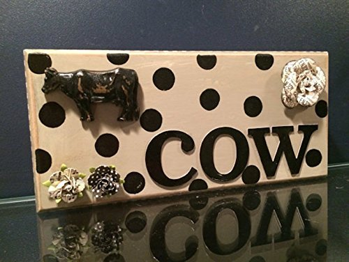 Rustic Cow Home Decor, Cow Art, Under $30, Christmas Gift, Cow Decoration