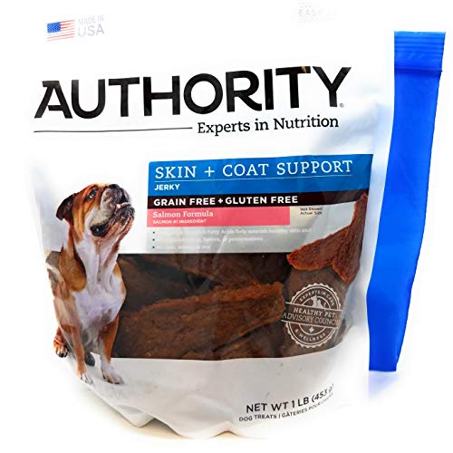 Authority Skin and Coat Support Formula Jerky 1lb (Salmon) and Tesadorz Resealable Bags