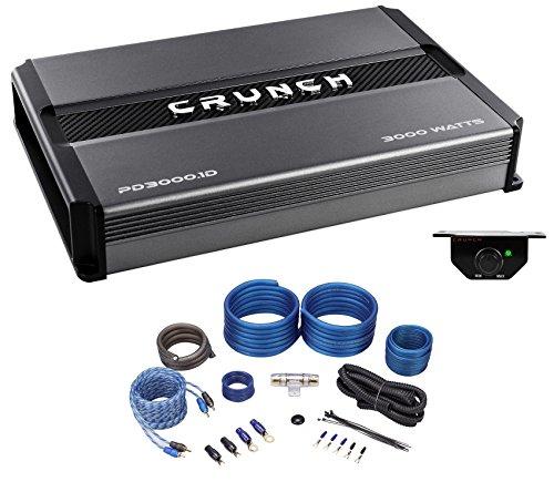 Crunch PD3000.1D 3000 Watt Mono Car Stereo Amplifier Class D Pro Power+Amp Kit ()