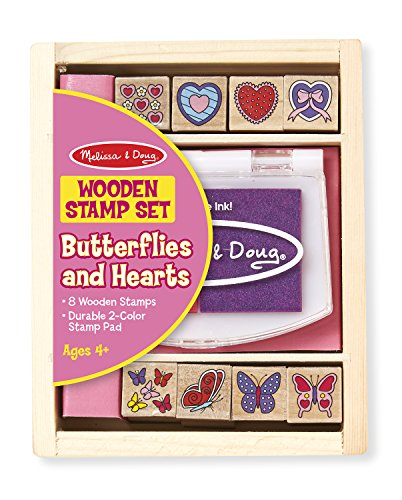 Melissa & Doug Butterfly and Heart Wooden Stamp Set: 8 Stamps and 2-Color Stamp Pad (Art Supplies Easter Gift)