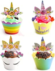 Unicorn Cupcake Toppers and Wrappers - Double-Sided Printing - Great Party Cupcake Decorations - Pack of 48 Sets