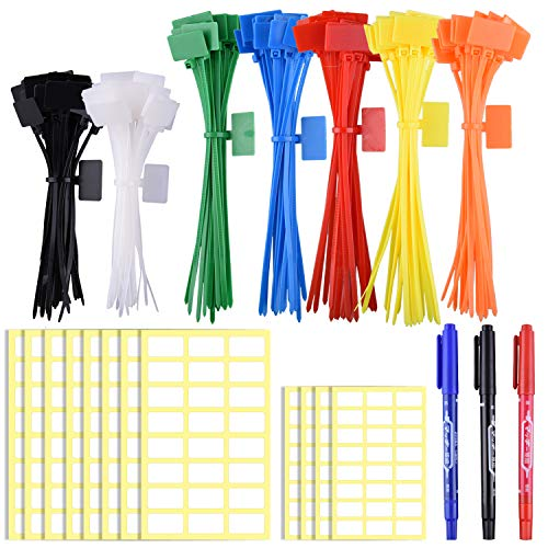 SIQUK 160 Pieces Zip Tie Tags Colorful Zip Tie Labels in 4/6 Inches Self-Locking Cable Tie Marker with 288 Pcs White Labels and 3 Pcs Marker for Cable, Wire and Cord Management