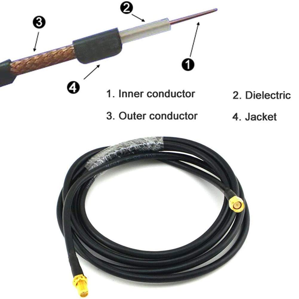 SMA WiFi Antenna Extension 5M //196.85 inch SMA Male to SMA Female RG58 Low Loss Coaxial Cable Patch Lead Coax for 2G//3G//4G LTE SMA WiFi Antenna Wireless Router WLAN Power Cord Camera System