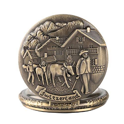 Fickur för män retro brons Schweerland design 3D bovin kvarts fickur kedja halsband hänge herrklockor, julklappar