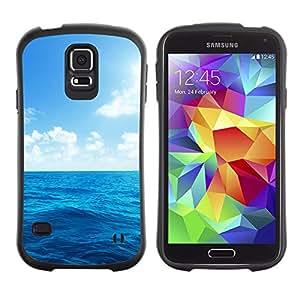 Suave TPU Caso Carcasa de Caucho Funda para Samsung Galaxy S5 SM-G900 / Sun Sea Summer Sky Blue Nature Clouds / STRONG