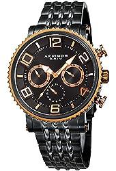 Akribos XXIV Men's Quartz Multi-Function Rose-Tone Accented Black Sunray Dial on Black Stainless Steel Bracelet Watch AK917BKRG