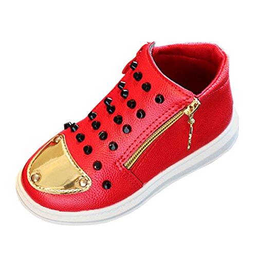 Hunpta Kinder Mode Jungen Mädchen Sneaker Winter Dick Schnee Baby Casual Mädchen Größe 25-29 Leder Schuhe Rot