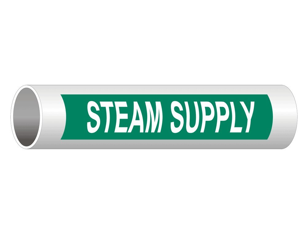 Steam Supply (White Legend On Green Background) Pipe Label Decal, 12x2.5 in. 50-Pack Vinyl for Pipe Markers by ComplianceSigns