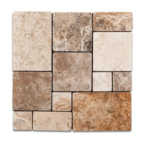 Andean Cream Peruvian Travertine OPUS Mini-Pattern Tumbled Mosaic Tile - 6