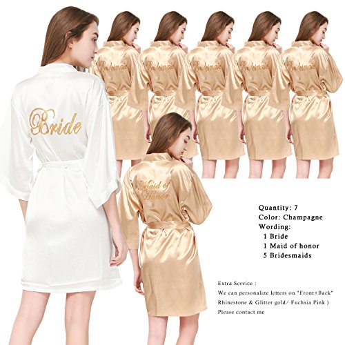 PROGULOVER Set Of 7 Women's Satin Silk-Like Kimono Robes For Bride Bridesmaid Gold Glitter Wedding Party Maid Of Honor Robes by PROGULOVER