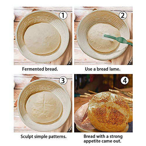 5'' Bread Banneton Proofing Basket - LinkMall Bakers Proving Baskets Perfect with Sourdough Starter for Artisan Homemade Bread and Baking Bowl Dough Gifts - 2 Piece.