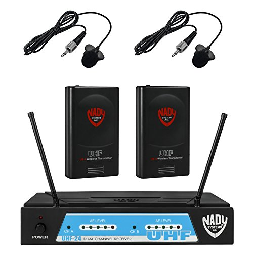 - Nady UHF-24 Wireless Dual Lapel / Lavalier Microphone System with True Diversity