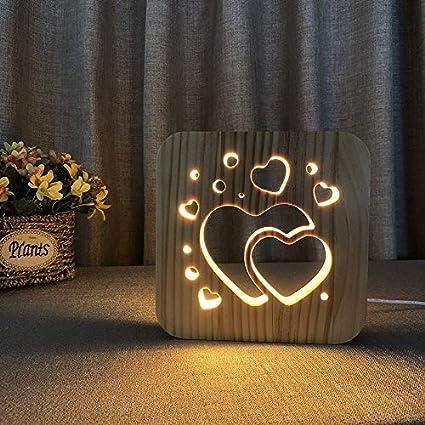 Solo 1 pieza Luz de noche de madera en forma de corazón Regalo de San Valentín Decoración creativa del dormitorio con luz de noche LED 3D Luz de noche blanca cálida