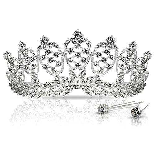 [Crystal Crown Tiara with Comb for Pageants, Bridal Party, Wedding, Sweet 16, Prom, Quinceanera or Any Occasion for a Queen. Light Weight, Hundreds of Shiny] (Beauty Pageant Queen Costume)