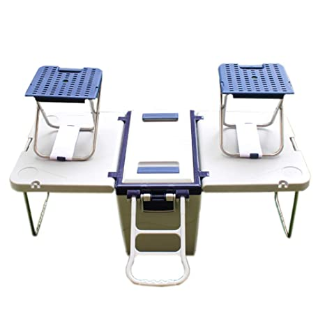 BlueSpace Enfriador de Bebidas Ruedas aisladas con Mesa de Picnic Plegable portátil y sillas contenedor de