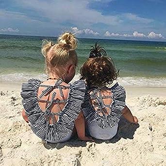 Yoveme Toddler Baby Girls Swimsuit Striped Swimsuit Bathing One-Piece Swimwear Headband Bikini Set