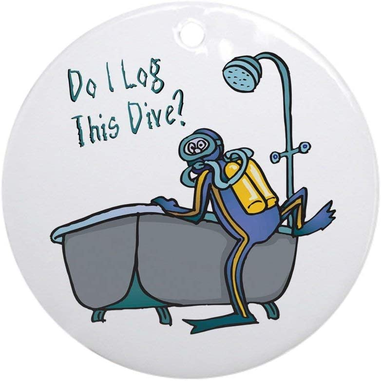 Yilooom Do I Log This Dive? Ornament (Round) Round Holiday Christmas Ornament Hanging Christmas Decoration Gift Ceramic Ornament Xmas Special Keepsake Porcelain Art Display - 3