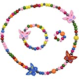 SmitCo LLC Jewelry for Kids - For Little Girls and Toddlers - Stretch Butterfly Necklace, Ring, Bracelet Set - Great Costume Jewelry and Accessories For Children To Play Pretend and Dress Up