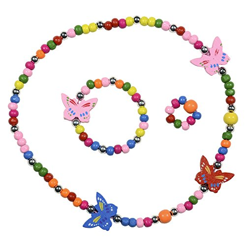 SmitCo LLC Jewelry for Kids - For Little Girls and Toddlers - Stretch Butterfly Necklace, Ring, Bracelet Set - Great Costume Jewelry and Accessories For Children To Play Pretend and Dress Up Butterfly Ring Jewelry