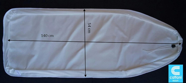 mauro Copriasse da Stiro Professionale in Cotone con Mollettone Mis.140x54 cm-Colore Bianco