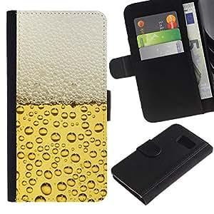 LECELL--Cuero de la tarjeta la carpeta del tirón Smartphone Slots Protección Holder For Samsung Galaxy S6 -- Cerveza burbujas de espuma --
